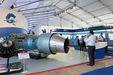 unitary: ZHUKOVSKY, RUSSIA - AUG 16: Federal state unitary enterprise Gas-turbine engineering research and production center �Salut� at the International Aviation and Space salon MAKS on Aug, 16, 2011 at Zhukovsky, Russia