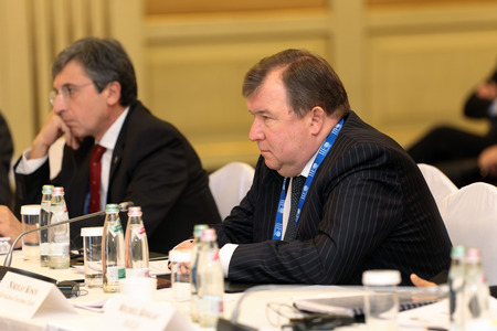 ceos: MOSCOW, RUSSIA - FEB 15: Nikolay Kosov - Chairman Of The Board International investment bank at G20 Finance Ministers and Central Bank Governors Deputies Meeting on February, 15, 2013 in Ritz-Carlton Hotel, Moscow, Russia Editorial