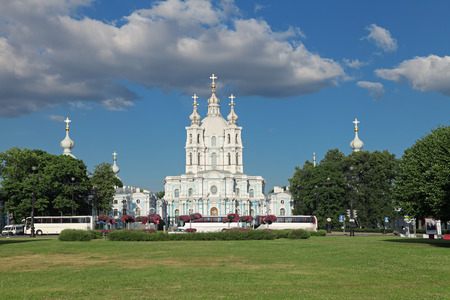 ST.-PETERSBURG - JUL 02: The Smolny Cathedral is a famous building by architect Francesco Bartolomeo Rastrelli constructed in 1748-1835 years on Jul 02, 2013 in Saint-Petersburg, Russia