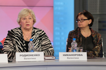 valentina: MOSCOW - APR 10: Valentina Rodionenko - senior coach of Russia on sports gymnastics and  Valentina Nikanorova - Vice-President of the gymnastics Federation of Russia on press-conference dedicated to the 2013 European Artistic Gymnastics Championships in R Editorial