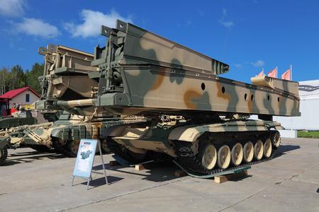 bridged: NIZHNY TAGIL, RUSSIA- AUG 22: Armoured vehicle-launched bridge (AVLB) at the exhibition RUSSIAN DEFENCE EXPO 2012 on August, 22, 2012 at Nizhny Tagil, Russia