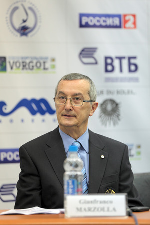 wtc: MOSCOW - APR 16: Gianfranco Marzolla - president of the mens technical committee of artistic gymnastics (WTC) on press-conference dedicated to the 2013 European Artistic Gymnastics Championships on April 16, 2013 in Moscow, Russia. Editorial