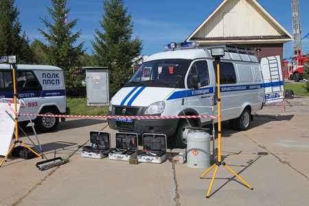 defense facilities: NIZHNY TAGIL, RUSSIA - AUG 23: Special police car - mobile lab explosion expertise at the exhibition RUSSIAN DEFENCE EXPO 2012 on August, 23, 2012 in Nizhny Tagil, Russia Editorial
