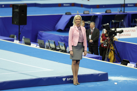 eminent: MOSCOW - APR 19: 2013 European Artistic Gymnastics Championships. Svetlana Khorkina - famous former Russian gymnast in Olympic Stadium on April 19, 2013 in Moscow, Russia.