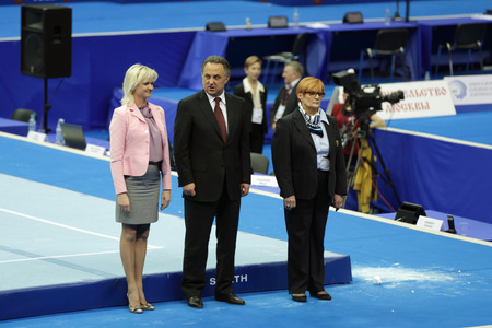 vitaly: MOSCOW - APR 19: 2013 European Artistic Gymnastics Championships. Svetlana Khorkina - famous former Russian gymnast and Vitaly Mutko -  Minister of Sport, Tourism and Youth policy in Olympic Stadium on April 19, 2013 in Moscow, Russia.