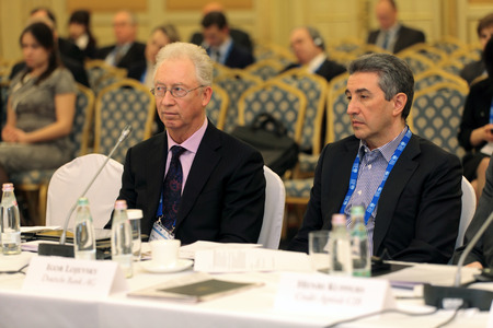 ceos: MOSCOW, RUSSIA - FEB 15: Oleg Vyugin - board chairman MDM Bank and Igor Lojevsky - chief executive Deutsche Bank AG at G20 Finance Ministers and Central Bank Governors Deputies Meeting on February, 15, 2013 in Ritz-Carlton Hotel, Moscow, Russia Editorial