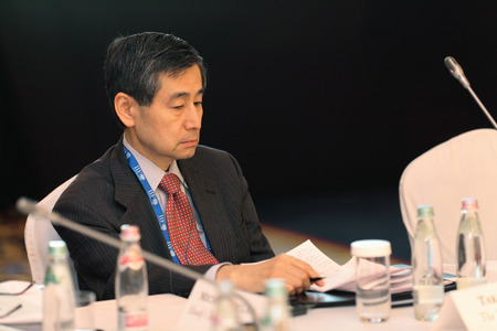 takashi: MOSCOW, RUSSIA - FEB 15: Takashi Oyama, Counsellor on Global Strategy Norinchukin Bank Group at G20 Finance Ministers and Central Bank Governors Deputies Meeting on February, 15, 2013 in Ritz-Carlton Hotel, Moscow, Russia