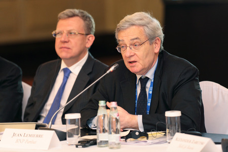 ceos: MOSCOW, RUSSIA - FEB 15: Jean Lemierre - Advisor to the Chairman BNP Paribas at G20 Finance Ministers and Central Bank Governors Deputies Meeting on February, 15, 2013 in Ritz-Carlton Hotel, Moscow, Russia