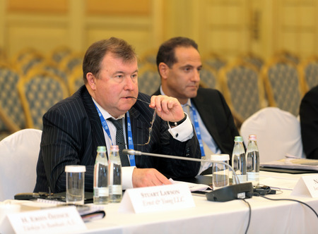 ceos: MOSCOW, RUSSIA - FEB 15: Nikolay Kosov - Chairman Of The Board International investment bank at G20 Finance Ministers and Central Bank Governors Deputies Meeting on February, 15, 2013 in Ritz-Carlton Hotel, Moscow, Russia