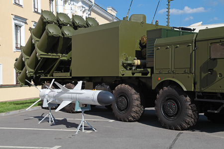 ST.-PETERSBURG - JUL 03: Coastal missile complex BAL-E (SSC-6 Sennight) on International maritime defence show (IMDS-2013) on Jul 03, 2013 at Lenexpo exhibition complex in St.-Petersburg, Russia