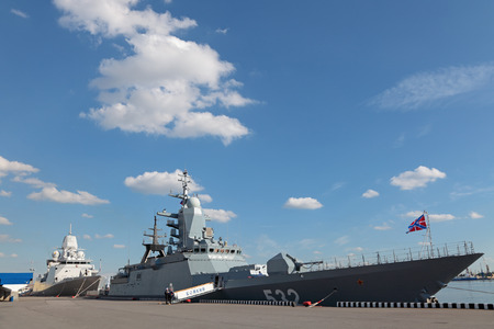 corvette: ST.-PETERSBURG - JUL 03: The Corvette Navy of Russia Boykiy on International maritime defence show (IMDS-2013) on Jul 03, 2013 at Lenexpo exhibition complex in St.-Petersburg, Russia