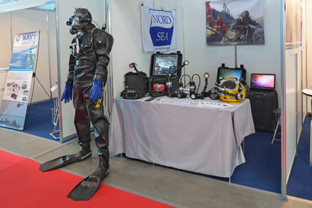 defense facilities: SAINT-PETERSBURG - JUN 05: Diving equipment on 6th international maritime defense show (IMDS-2013) on Jun 05, 2013 in Lenexpo exhibition complex, Saint-Petersburg, Russia.