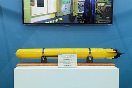 sonar: San Pietroburgo - 5 luglio: Il piccolo di dimensioni mezzo semovente autonomo subacqueo con sonar a scansione on International difesa mostra marittimo (CPI-2013) il 5 luglio 2013 presso il complesso espositivo Lenexpo a San Pietroburgo, Russia Editoriali