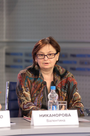 MOSCOW - APR 10: Valentina Nikanorova - Vice-President of the gymnastics Federation of Russia on press-conference dedicated to the 2013 European Artistic Gymnastics Championships in Russian International News Agency (RIA Novosti) on April 10, 2013 in Mosc Editorial