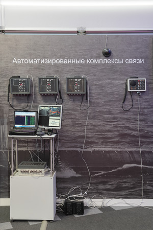 complexes: ST.-PETERSBURG - JUL 05: Automated communication complexes on International maritime defence show (IMDS-2013) on Jul 05, 2013 at Lenexpo exhibition complex in St.-Petersburg, Russia