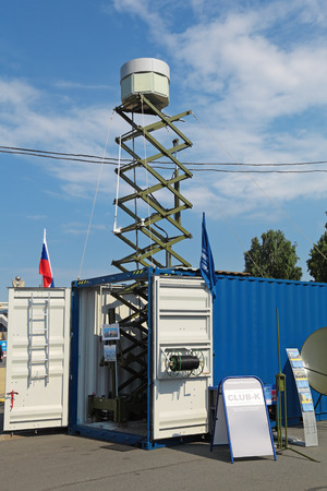 international monitoring: ST.-PETERSBURG - JUL 05: Automated complex of the far radio monitoring (passive radar) inside the shipping container on International maritime defence show (IMDS-2013) on Jul 05, 2013 at Lenexpo exhibition complex in St.-Petersburg, Russia