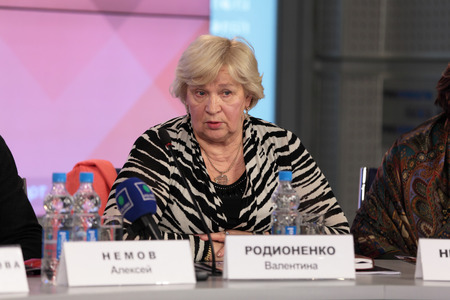 valentina: MOSCOW - APR 10: Valentina Rodionenko - senior coach of Russia on sports gymnastics on press-conference dedicated to the 2013 European Artistic Gymnastics Championships in Russian International News Agency (RIA Novosti) on April 10, 2013 in Moscow, Russia