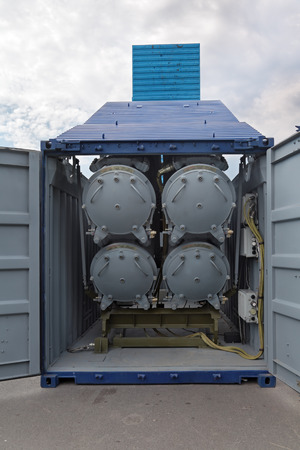 ST.-PETERSBURG - JUL 05: Modular launcher in a 20-feet marine container CLUB-K on International maritime defence show (IMDS-2013) on Jul 05, 2013 at Lenexpo exhibition complex in St.-Petersburg, Russia