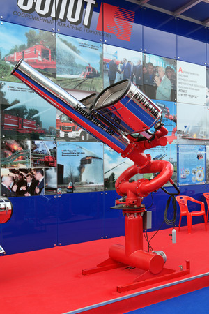 fire extinguishing: ST.-PETERSBURG - JUL 05: Installation of combined fire extinguishing on the International maritime defence show (IMDS-2013) on Jul 05, 2013 at Lenexpo exhibition complex in St.-Petersburg, Russia