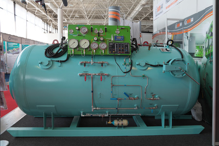 complexes: ST.-PETERSBURG - JUL 05: The Pressure chamber for marine diving complexes on International maritime defence show (IMDS-2013) on Jul 05, 2013 at Lenexpo exhibition complex in St.-Petersburg, Russia Editorial