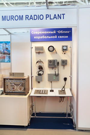 radio unit: ST.-PETERSBURG - JUL 05: Means of shipborne communications of Murom radio plant on International maritime defence show (IMDS-2013) on Jul 05, 2013 at Lenexpo exhibition complex in St.-Petersburg, Russia