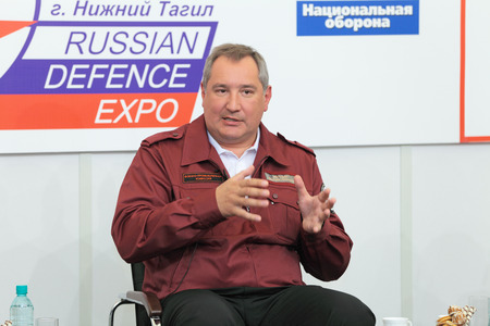 the statesman: NIZHNY TAGIL, RUSSIA- AUG 24: Dmitry Rogozin is Ambassador Extraordinary and Plenipotentiary of Russia, vice-premier of Russian Government at RUSSIAN DEFENCE EXPO 2012 on August, 24, 2012 at Nizhny Tagil, Russia