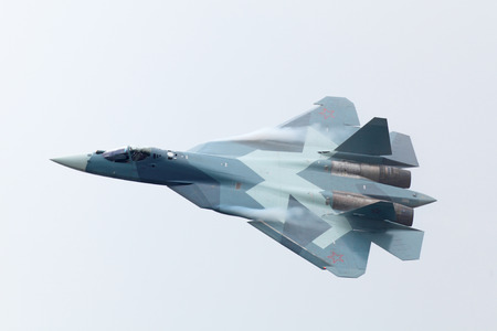 frontline: ZHUKOVSKY, RUSSIA - SEP 1: Sukhoi PAK FA T-50 (Prospective Airborne Complex of Frontline Aviation) fifth-generation jet fighter at the International Aviation and Space salon (MAKS) on Sep 01, 2011 in Zhukovsky, Russia