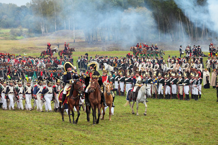 BORODINO, MOSCOW REGION - SEPTEMBER 02: Reenactment of the Borodino battle between Russian and French armies in 1812 at its 200th anniversary on September 02, 2012 in Borodino, Moscow Region, Russia
