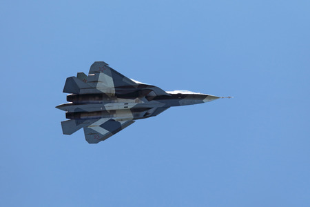frontline: ZHUKOVSKY, RUSSIA - AUG 28: Sukhoi PAK FA T-50 (Prospective Airborne Complex of Frontline Aviation) fifth-generation jet fighter at the International Aviation and Space salon (MAKS) on August 28, 2013 in Zhukovsky, Russia Editorial
