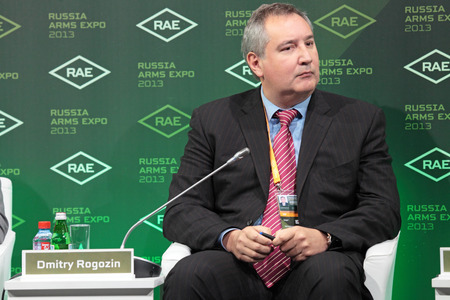 deputy: NIZHNY TAGIL, RUSSIA - SEP 25: Dmitry Rogozin - Deputy Prime Minister of Russia at the exhibition RUSSIA ARMS EXPO (RAE-2013) on September, 25, 2013 at Nizhny Tagil, Russia Editorial