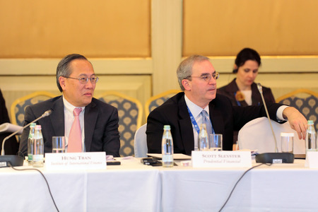 ceos: MOSCOW, RUSSIA - FEB 15:  Hung Tran (Institute of International Finance) and Scott Sleyster (Prudential Financial) at G20 Finance Ministers and Central Bank Governors Deputies Meeting on February, 15, 2013 in Ritz-Carlton Hotel, Moscow, Russia