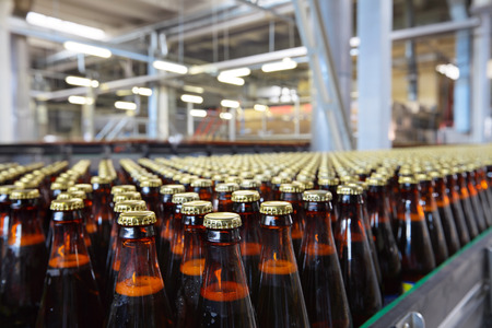 brouwerij: De voedingsindustrie. Glazen bierflesjes bewegen op transportband Stockfoto