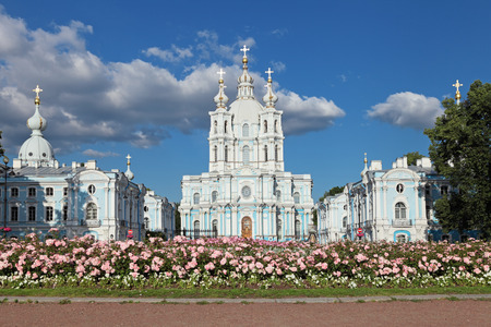 Saint-Petersburg, Smolny Cathedral is a famous building by architect Francesco Bartolomeo Rastrelli constructed in 1748-1835 years photo