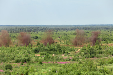 Explosions of  mortar shells at the landfill