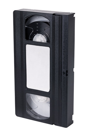 videocassette: VHS est�ndar video cassette viejo, aislado en blanco Foto de archivo