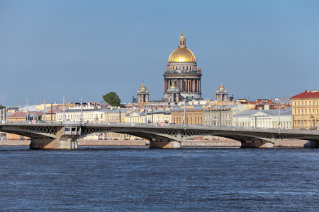 blagoveshchensky: Saint Petersburg, Russia, English Embankment, Blagoveshchensky (Annunciation) Bridge dating back to 1850 and Saint Isaacs Cathedral