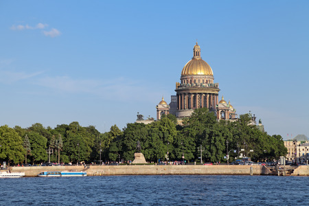 Saint Petersburg, Russia, English Embankment and Saint Isaacs Cathedral (Isaakievskiy Sobor). Built in 1858 under the project of architect Auguste de Montferrand
