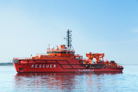 Rescue ship in the sea