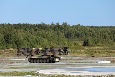 demos: Armoured vehicle-launched bridge (AVLB) at the military training ground Stock Photo