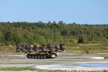bridged: Armoured vehicle-launched bridge (AVLB) at the military training ground Stock Photo