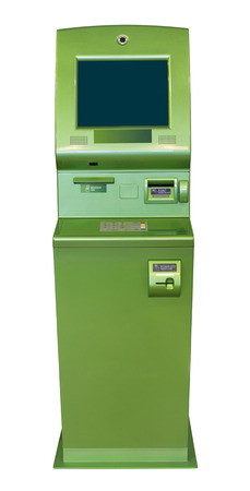 bankomat: Green ATM  cash machine, isolated on white background