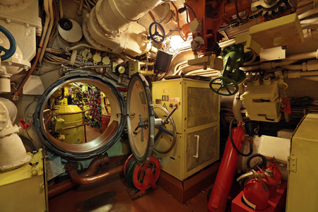compartments: The interior of the old submarine, the passage between the compartments