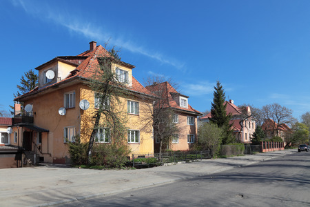 The old houses on the street, Kaliningrad city, Russia, formerly the German city of Konigsberg Stock Photo