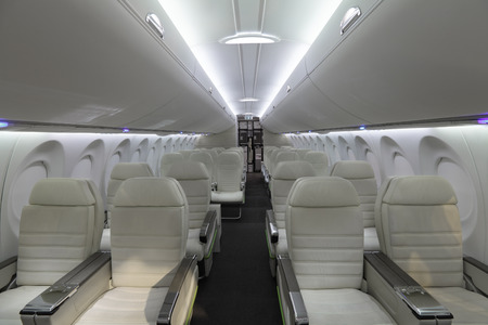 The modern interior of the airliner