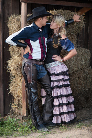 lawman: Young Sheriff with a woman at the ranch Stock Photo