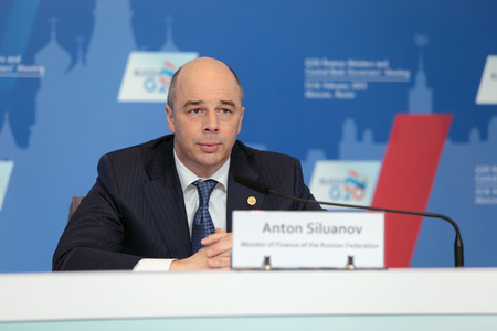 ministers:  MOSCOW, RUSSIA - FEB 16: Anton Siluanov - Minister of Finance of the Russian Federation at a press-conference dedicated to the upcoming summit G20 on February, 16, 2013 in Moscow, Russia