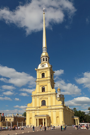 ST.-PETERSBURG - JUL 02: The Peter and Paul Cathedral is a Russian Orthodox cathedral located inside the Peter and Paul Fortress on Jul 02, 2013 in St.-Petersburg, Russia. Built in 1712-1733 years architect Domenico Trezzini