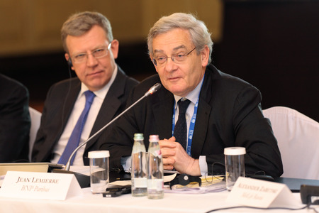 ceos: MOSCOW, RUSSIA -  FEB 15: Jean Lemierre - Advisor to the Chairman BNP Paribas at G20 Finance Ministers and Central Bank Governors Deputies Meeting on February, 15, 2013 in Ritz-Carlton Hotel, Moscow, Russia Editorial