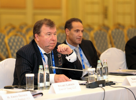 ministers: MOSCOW, RUSSIA - FEB 15: Nikolay Kosov - Chairman Of The Board International investment bank at G20 Finance Ministers and Central Bank Governors Deputies Meeting on February, 15, 2013 in Ritz-Carlton Hotel, Moscow, Russia Editorial