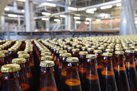 The food industry. Glass beer bottles moving on conveyor Фото со стока